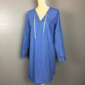 Old Navy Denim Chambray Lace Up Front Dress Med